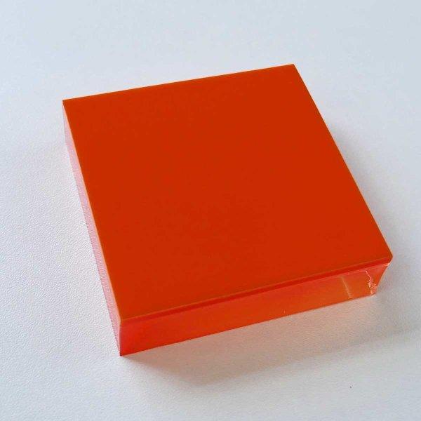 Restposten   Acryl-Block Sandwich 70 x 70 mm - farblos & orange