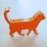 "Katze stehend | Tierfigur | ""Sandwich"" aus klarem und buntem Acrylglas | ca. 160 mm lang"
