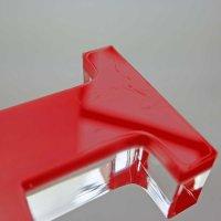 """MR & MR   Schriftzug   """"Sandwich"""" aus klarem und rotem Acrylglas   85 mm hoch"""