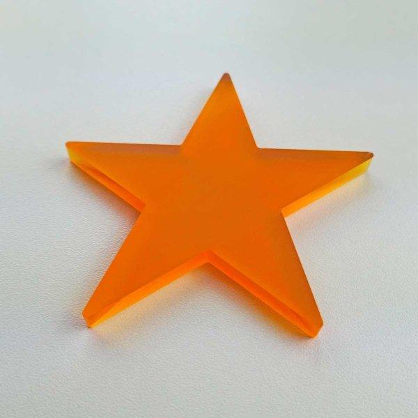 Stern   fünfzackig    aus satiniertem orange-transpartentem Acrylglas   80 oder 90 mm