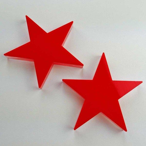 "Stern   fünfzackig   ""Sandwich"" aus klarem und rotem Acrylglas   70 oder 100 mm"