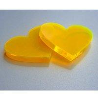 Herz   aus LISA gelb-orange Acrylglas fluoreszierend  ...